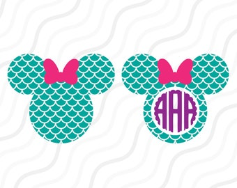 Mermaid Minnie Mouse SVG, Mermaid SVG, Disney Mickey SVG Cut table Design,svg,dxf,png Use With Silhouette Studio & Cricut_Instant Download
