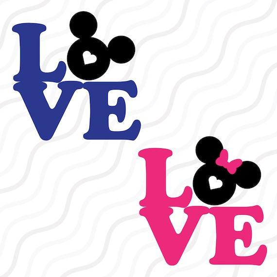 Love Mickey Mouse Svgdisney Valentine Svglove Quote Svg Cut Etsy