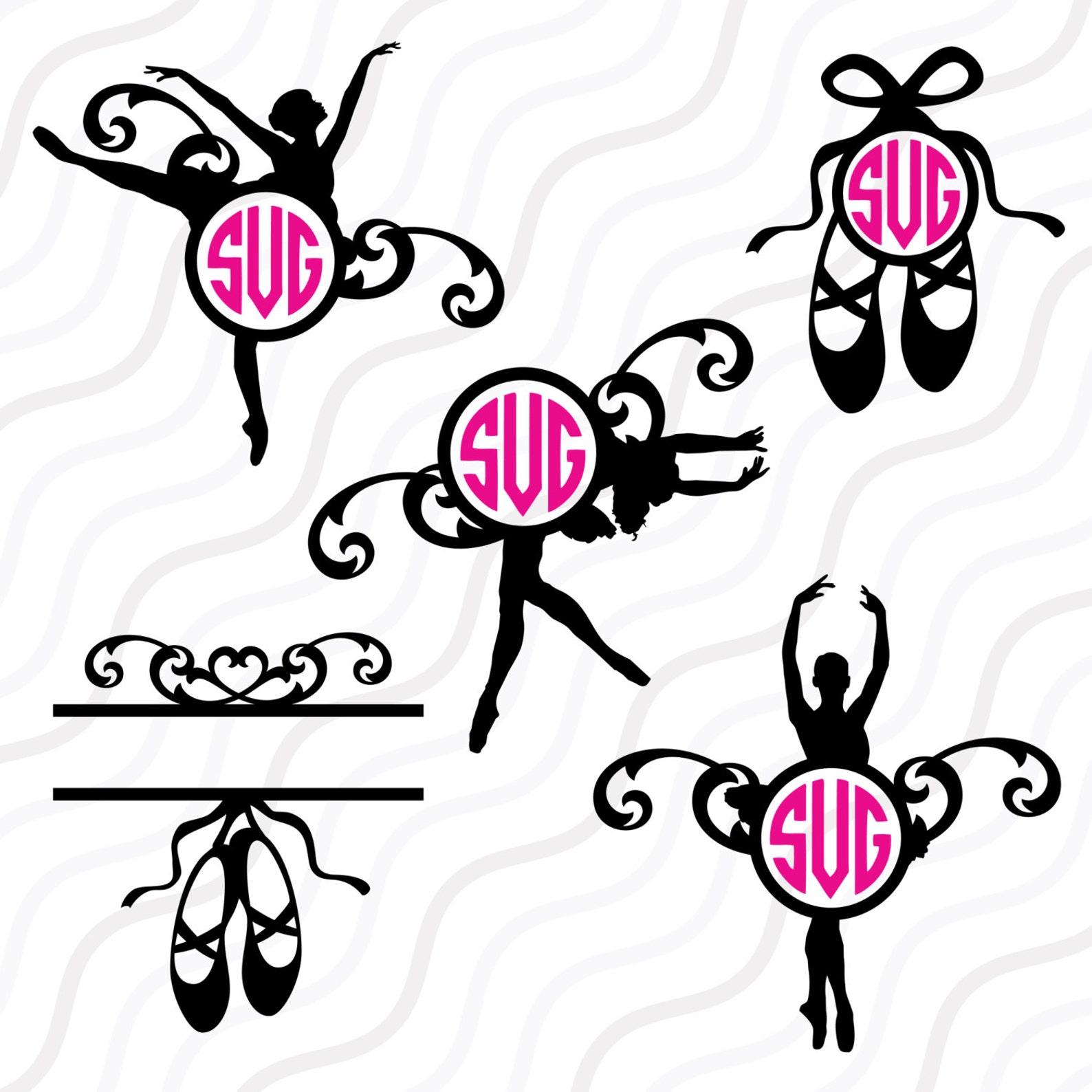 ballet svg, ballet shoe monogram svg, ballet monogram svg cut table design,svg,dxf,png use with silhouette studio & cricut_insta