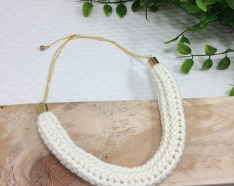 Ecru French knitting, gold chain necklace