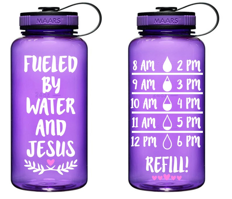 9d0af4a3c60 Fueled by Water and Jesus Water Bottle Tracker 34oz Water