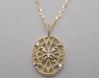 10K Yellow Gold and Diamond Lacy Millgrain Pendant
