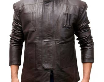 488998008ef Harrison Ford Han Solo Star Wars the Force Awakens Leather Jacket