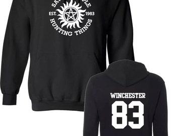 Saving people hunting things hoodie supernatural sam dean winchester bros funny hooded sweatshirt