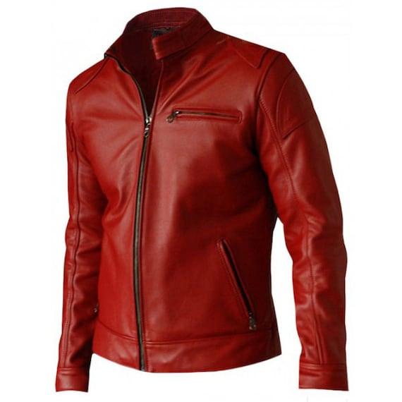 Men Lederjacke Biker Blackamp; Jacket Clarke Red Jason Es Terminator Genisys Leather WYDH29IebE