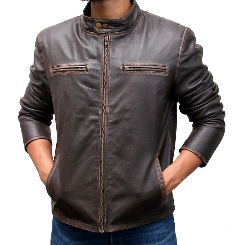 Contraband Mark Wahlberg/'s Men Slim Fit Distressed Real Cowhide Leather Jacket