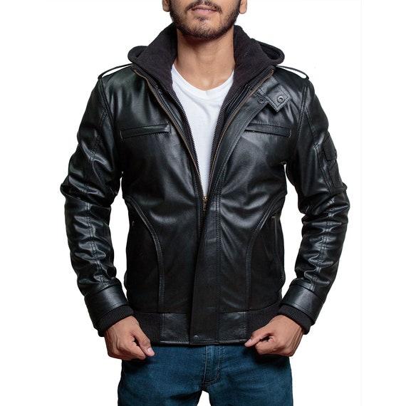 High Street Slim Fit Biker Faux Hooded Leather Jacket – Black