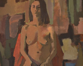 Original Art,Fine Art Nude,Female Sitting, Authentic Hand Painted,Acrylics On Wood, Figure Painting, Painted From Life, Realism