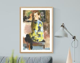 Impressionism, Digital Print Download, Acrylic Painting, Handmade Painting Download, Woman Painting, Yellow Dress,Figurative Art, Wall Art