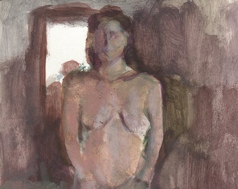 Original Wall Art,Fine Art Nude,Female Sitting on Chair,Authentic Hand Painted, Thick Paper,Figure Painting, Painted From Life, Realism Art