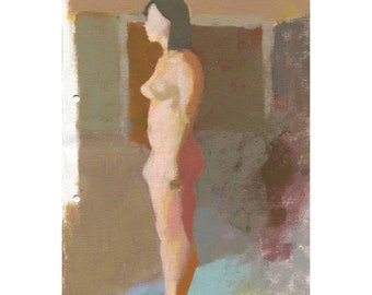 Original Wall Art,Fine Art Nude,Female Standing, Authentic Hand Painted, Nude Woman Art, Figure Painting, Painted From Life, Realism