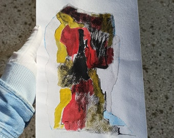 Original Wall Art,Fine Art,Figurative Painting, Authentic Hand Painted,Ink On Paper,Abstract Expressionism, Art Brutal, Mixed Media