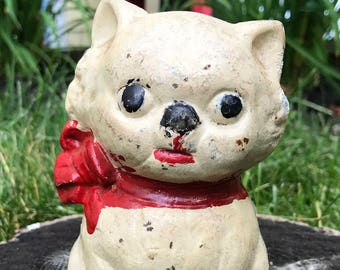 Vintage Hubley Cast Iron Kitten / Cat Bank