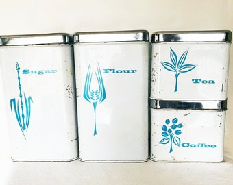 Lincoln Beautyware Metal Canisters MCM White Aqua - Set of 4