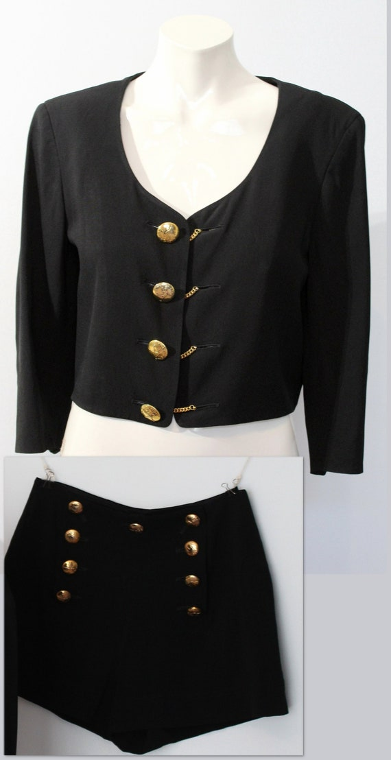 Late 1980's Moschino shorts suit set, cropped jack