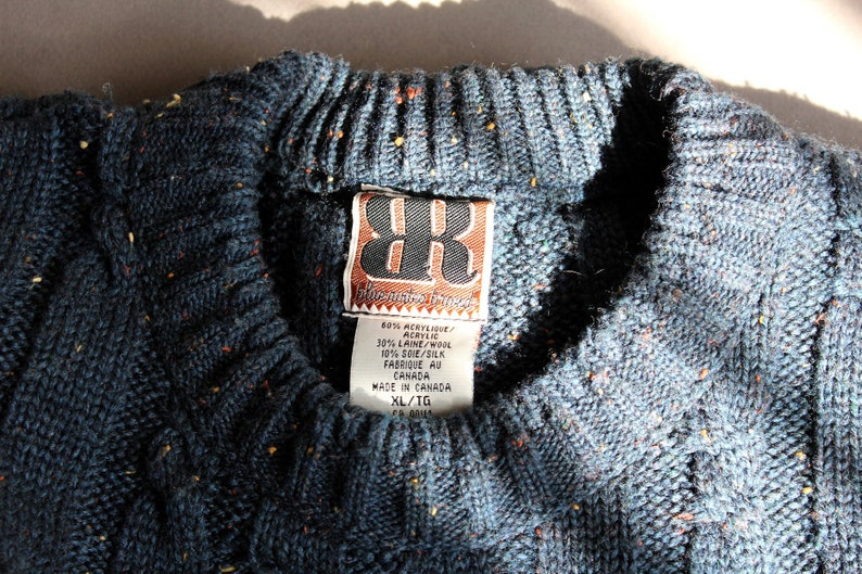 yellow orange size EXTRA LARGE crew neck Blue Rodeo Brand warm unisex wear and ivory specks 1990s speckled teal wool blend sweater