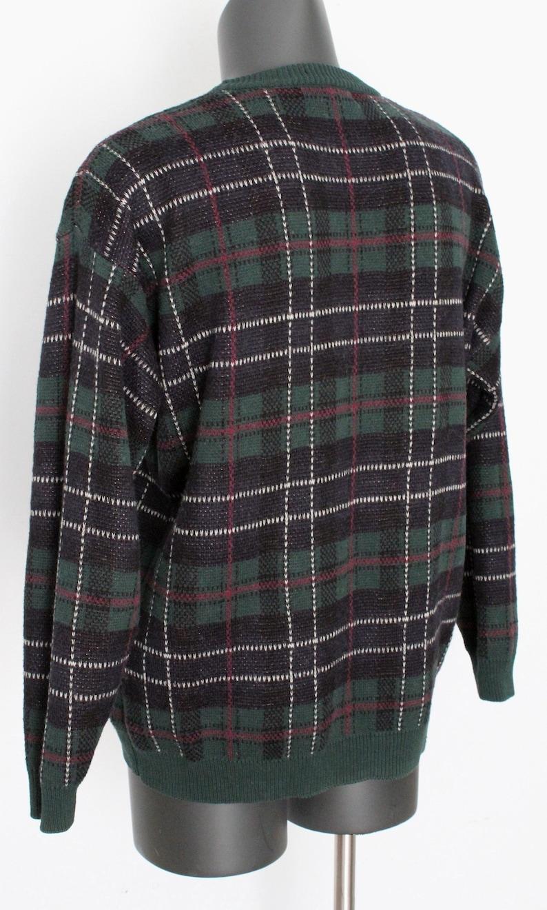 cotton and wool blend in navy 1990s Van Heusen hunters/' tartan sweater unisex wear Van Heusen men size LARGE green red and white
