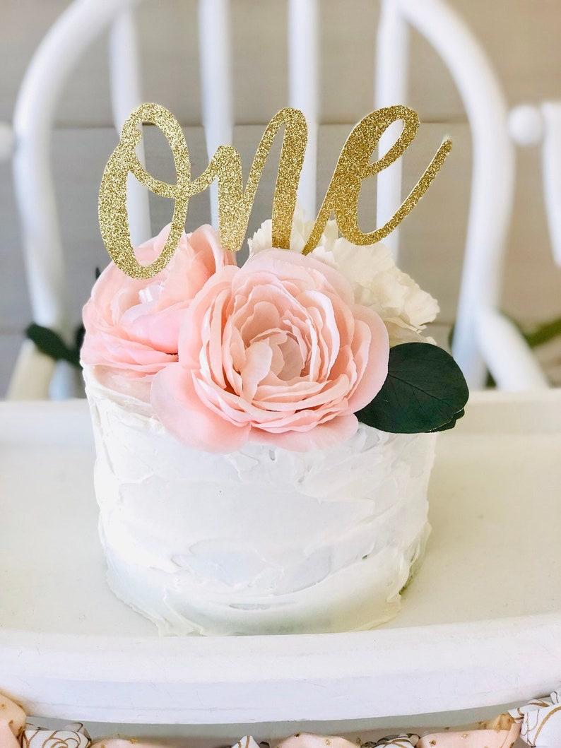 One Cake Topper First Birthday Cake Topper Glitter Gold