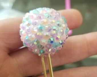 Pastel Mermaid Colored Sugar Pom-Planner Paper Clip-Gemstone Paperclip