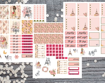 Bonjour!-3 Page Paris Planner Stickers-Paris Planner Stickers Compatible with Most Large Name Planners-French Style Stickers