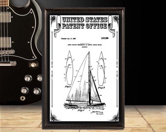 Herreshoff sail Patent Print, patent art, Wall Decor, Patent Decor, home Decor, home Art, digital download, patent poster, gift
