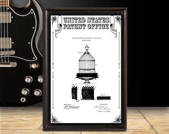 Birdcage Patent Print, patent art, Wall Decor, Patent Decor, home Decor, home Art, digital download, patent poster, gift