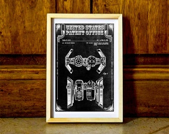 Star Wars TIE Bomber Patent – Patent Print, Wall Decor, Star Wars Art, Star Wars Gift, TIE Bomber Image, The Empire Strikes Back