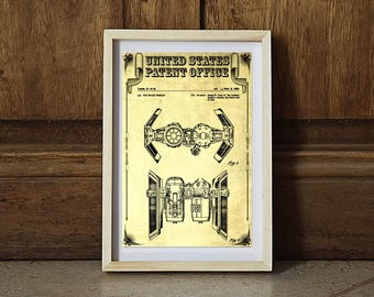 Star Wars TIE Bomber Patent, Patent Print, Wall Decor, Star Wars Art, Star Wars Gift, TIE Bomber Blueprint, The Empire Strikes Back