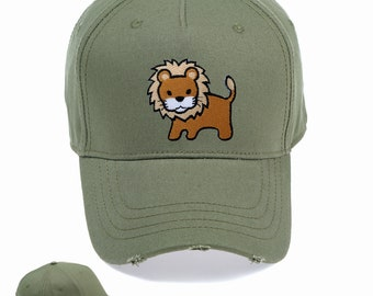 5889c7e9e8e Cute Lion Vintage Snapback Embroidered Weathered Rapper Caps- Hip-hop Hats  Ideal gift Birthday present
