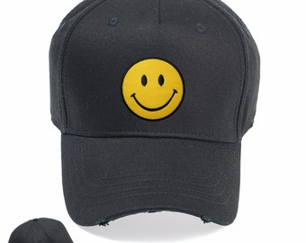 cfc980c09b4 Smile Happy Face Vintage Snapback Embroidered Weathered Rapper Caps-  Hip-hop Hats Ideal gift Birthday presen