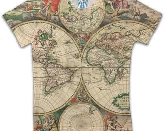 World Map Tshirt Etsy