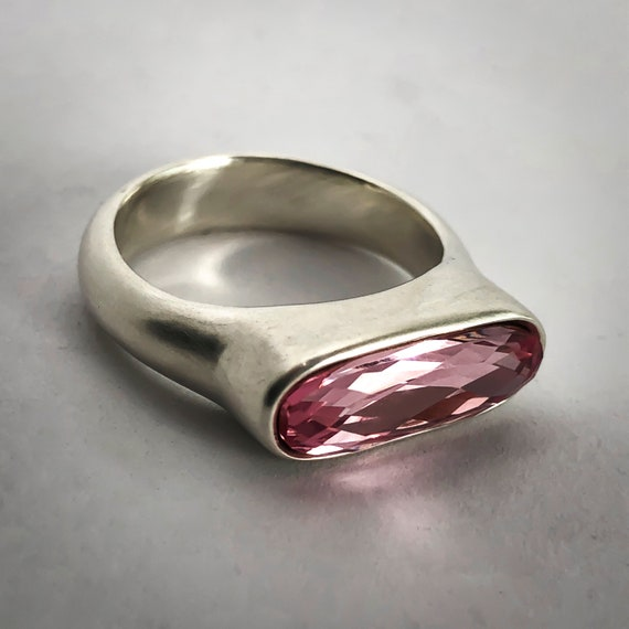 16e9afc0a5536 Oval statement ring with pink Swarovski Crystal, sterling silver ring,  Statement ring, Gift for her, Mother's day gift