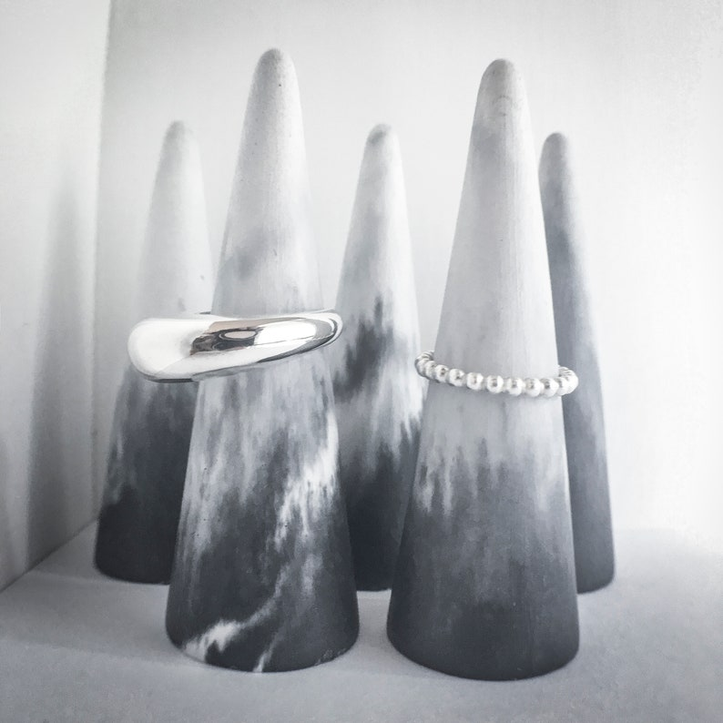 Concrete ring holder Ring holder Jewelry holder Ring cone set of three Marbled Ring Holder Jewelry display gift under 50 dollars