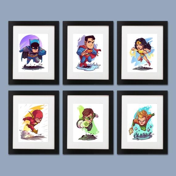 The Justice League Wall Art Set of 6 Prints Batman | Etsy