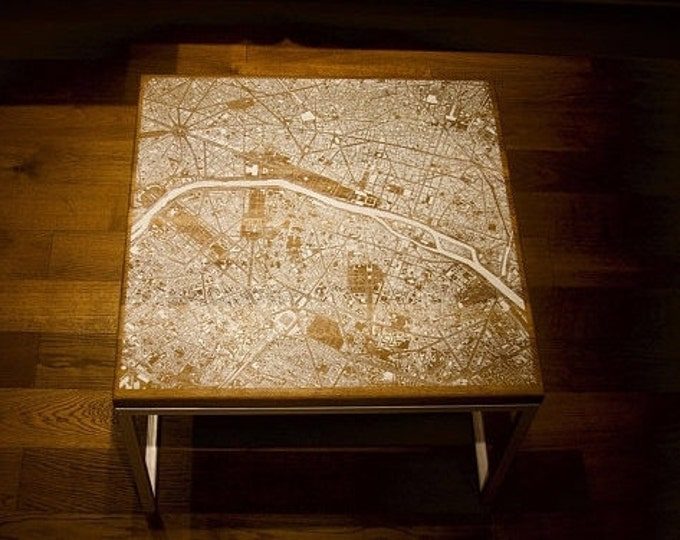 Featured listing image: Paris white map - Oak Wood Coffee Table with white epoxy Resin New Design Furniture