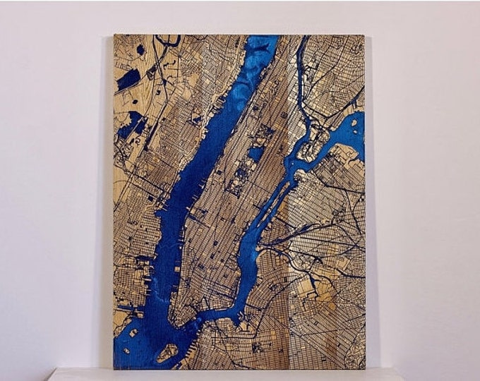 Featured listing image: Blue NEW YORK map BIG - Oak Wooden map with blue epoxy resin -  New Design wall decor