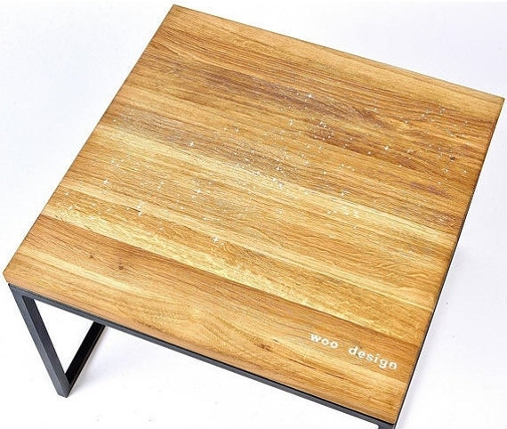 Milky Way Pattern Oak Wood Coffee Table With White Epoxy Resin New Design Furniture