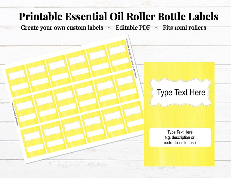 photograph about Printable Essential Oil Labels called Printable Necessary Oil Labels (Editable PDF) Suits 10ml roller bottles  Yellow Brush Strokes