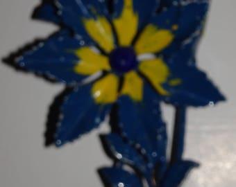 Vintage Blue & Yellow Movable Flower Enamel Brooch Pin