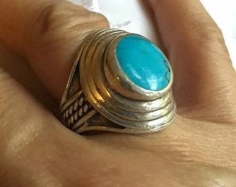ON SALE Vintage .925 Sterling Silver Turquoise Round Encircled Ring Size 8 1/4