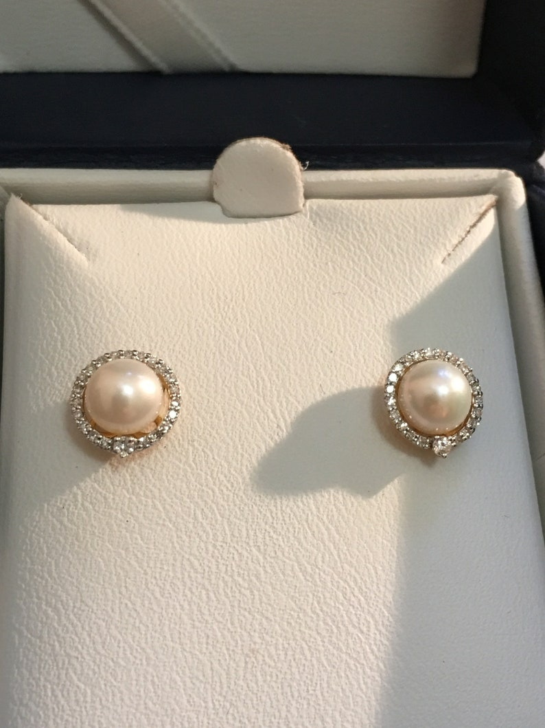 ON SALE 8mm Cultured Pearl Stud Earrings in 14kt Yellow Gold with Diamond accents