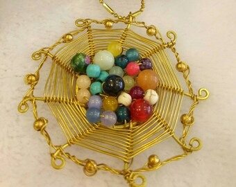 Brass wires spider web shape necklace