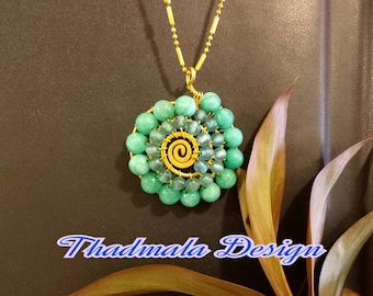 boho beads and wire bend necklace