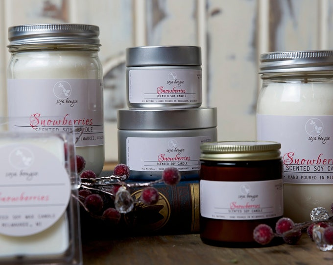 Soy Candle - Snowberries - Holiday and Winter Scents