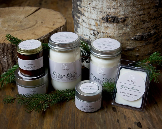 Soy Candle - Balsam Cedar - Holiday and Winter Scents