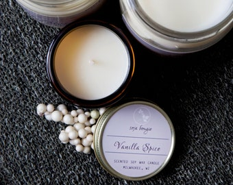 Soy Candle  - Vanilla Spice - Holiday and Winter Scents