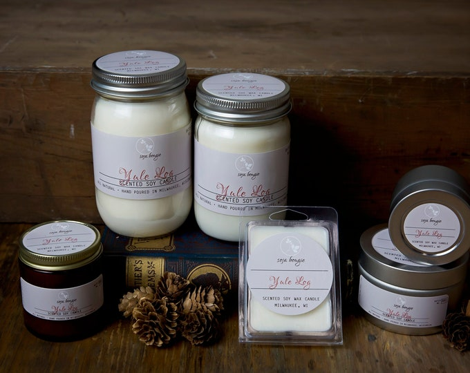 Soy Candle - Yule Log - Holiday and Winter Scents