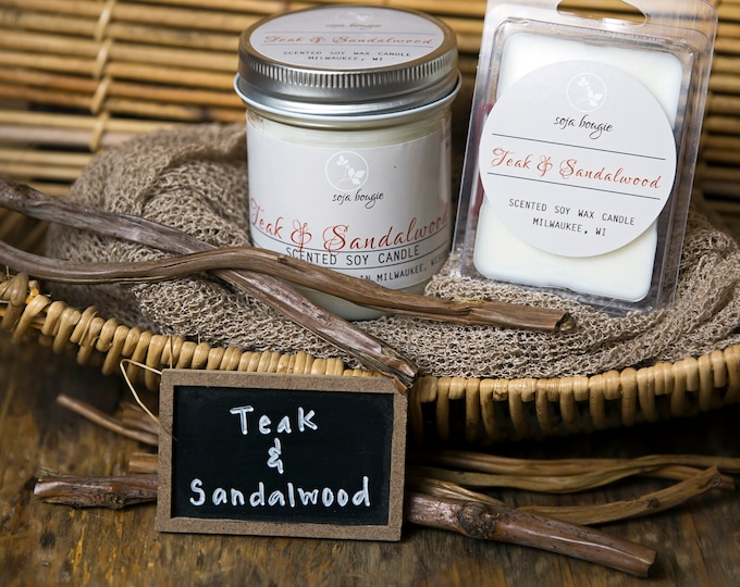 Soy Candle - Teak & Sandalwood - Year Round Fragrance