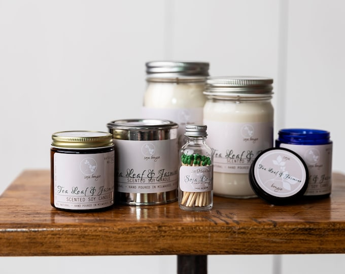Featured listing image: Soy Wax Candle - Tea Leaf & Jasmine - Spring Scents