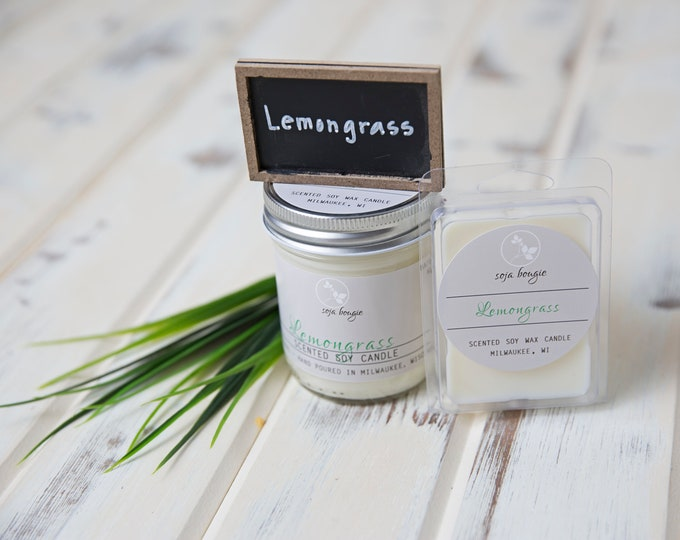 Soy Candle - Lemongrass Essential Oil - Year-Round Scents